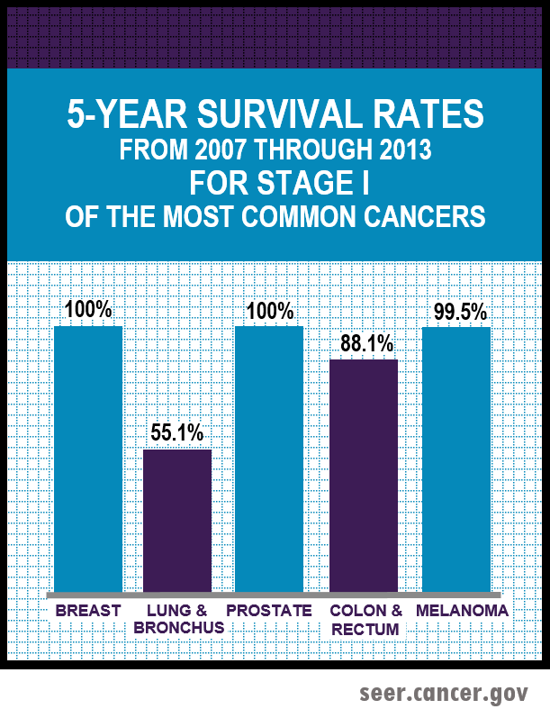 5-year survival rates between 2007-2013 for stage 1 of the most common cancers