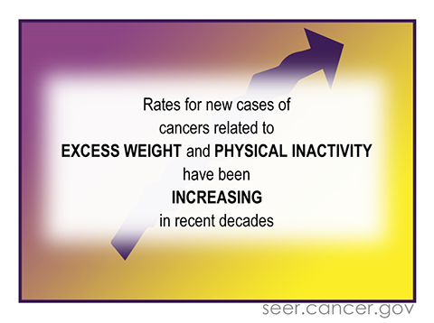 Rates for new cases of cancers related to excess weight and physical inactivity have been increasing in recent decades.