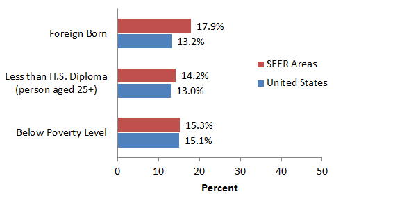Bar graph comparing three characteristics of the SEER and total US populations.